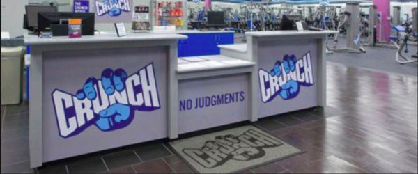 Image of the front lobby of a Crunch Fitness gym.